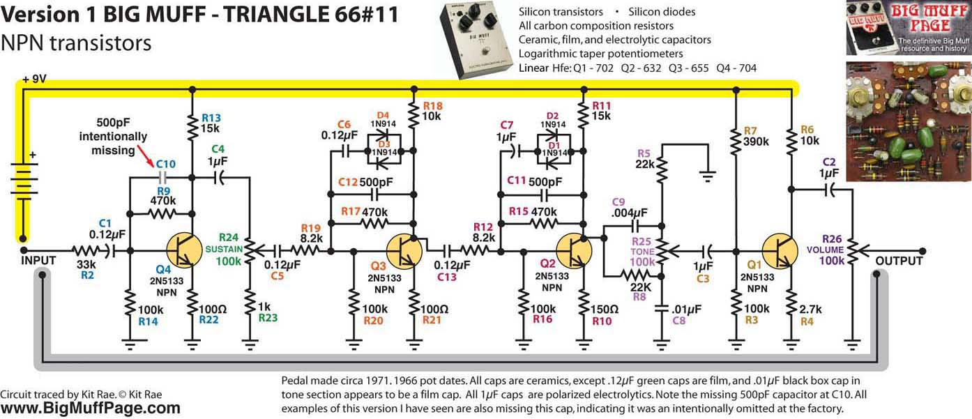 Big Muff Pi Versions And Schematics Below Is The Schematic Of Circuit We Will Be Building This Most Common Variant V1 Although It Rarely Cloned I Estimate That 60 70 All Vintage Triangle