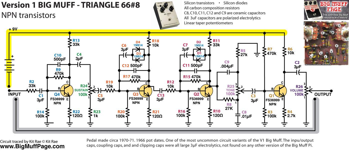 Big Muff Pi Versions And Schematics How This Circuit Works The Complete Is Shown In Similar To Example Above But Minor Component Value Changes Were Made Across