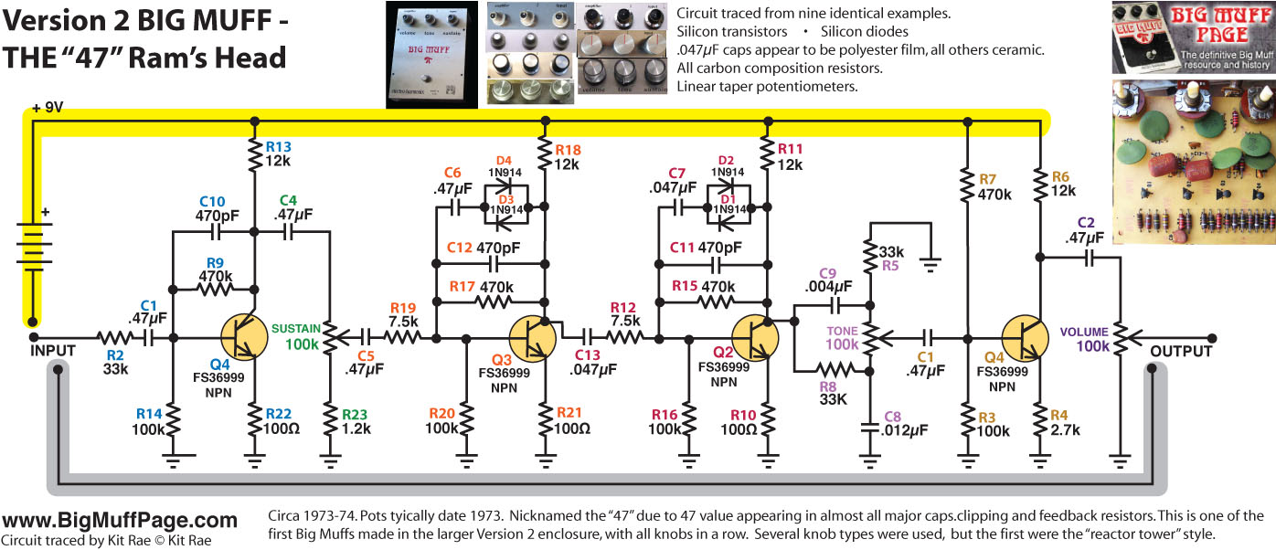 Big Muff Pi Versions And Schematics Univox Super Fuzz Schematic V2 73 Rams Head The Second Variant Of Circuit Appeard Circa 1973 All 047f Caps Were Replaced With 1 15f
