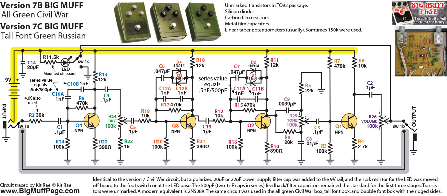 Green Russian Big Muff Schematic